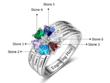 6 Stone Personalized Hearts Love Family Birthstone Ring - Think Engraved