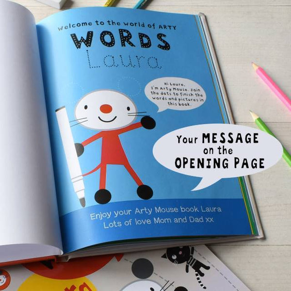 Personalized Arty Mouse Learning Words Activity Book - Think Engraved