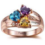 3 Stone Three Loves 14k Rose Gold IP Mothers Ring - Think Engraved