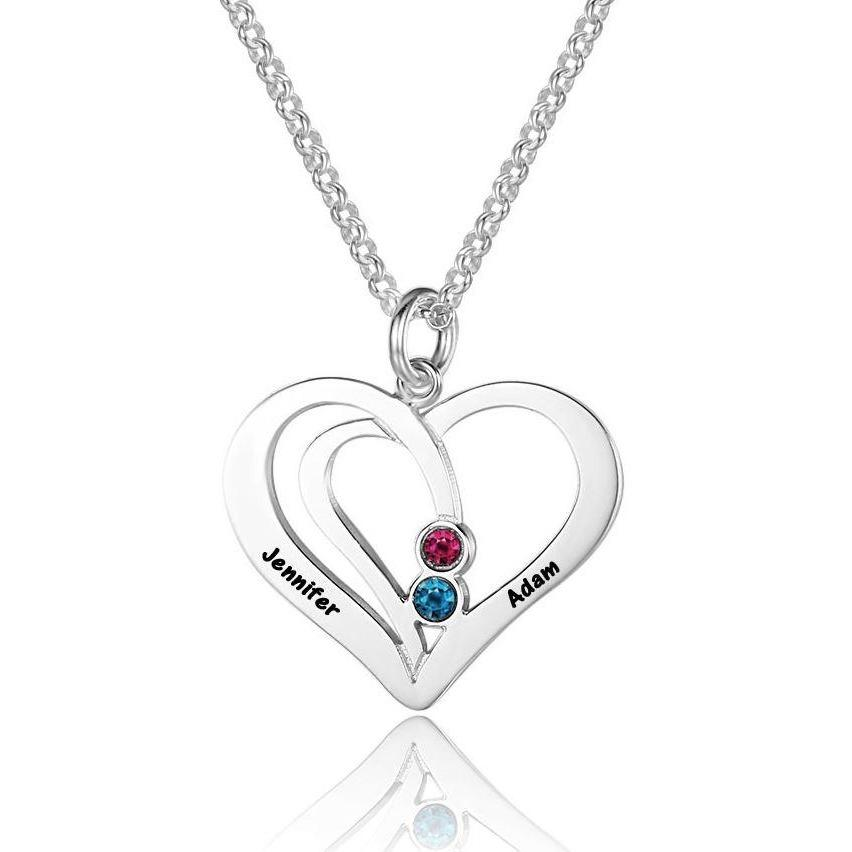 2 Stone Combined Hearts Engraved Couples Necklace - Think Engraved