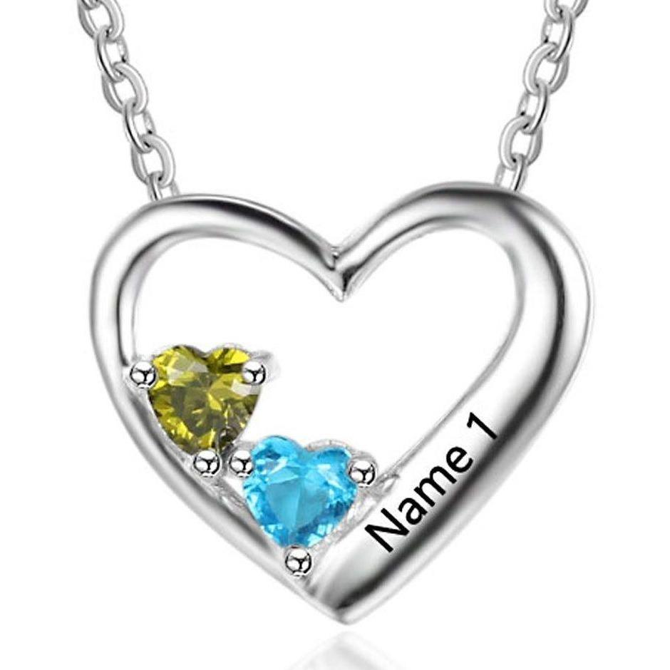 2 Stone True Heart Personalized Mom or Couple Necklace - Think Engraved