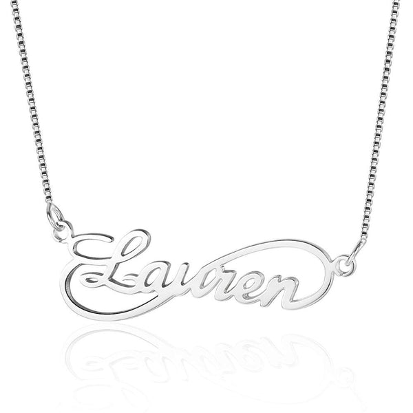 Cursive Infinity Loop Name Necklace Sterling Silver