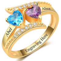 Personalized 14kt Gold Plated 2 Heart Birthstones & 2 Names Ring