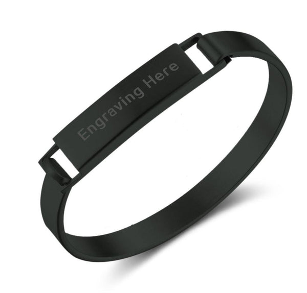 Black Stainless Steel Engraved Name Snap Bracelet - Think Engraved