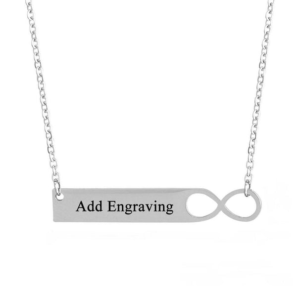 Infinity Bar Engraved Name Necklace - Think Engraved