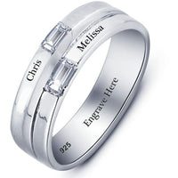 Sterling Silver 2 Custom Engraved Names Ring