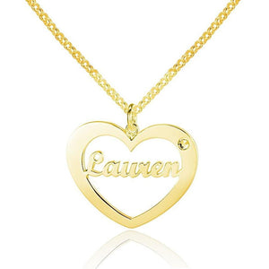 In My Heart 14k Gold Plated Pendant Necklace - Think Engraved