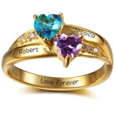 2 Stone Two Hearts 14k Gold IP Mothers Ring - Think Engraved