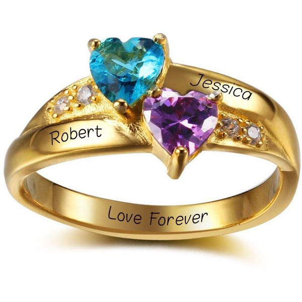 2 two hearts 14k gold plate mothers ring think engraved