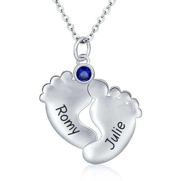 1 Stone Little Feet Charm Mother's Family Necklace