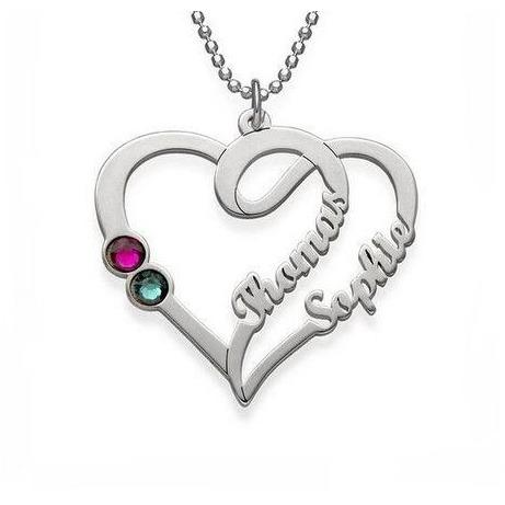 2 Stone Entined Heart Pendant Necklace - Think Engraved