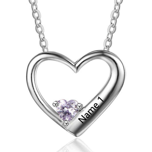 1 Stone True Heart Personalized Mom or Couple Necklace