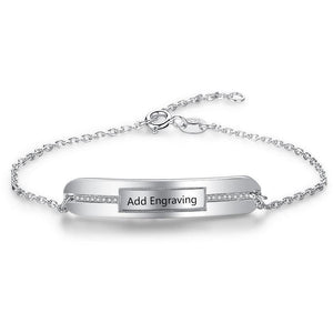 Sterling Silver Middle Jewels Engraved Bracelet - Think Engraved
