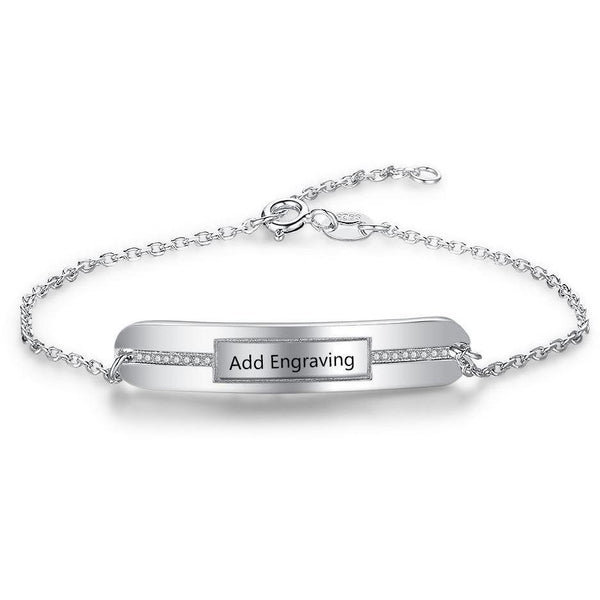 Sterling Silver Middle Jewels Engraved Bracelet