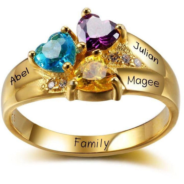 Mother's Ring 3 Stone Three Loves 14k Gold IP - Think Engraved