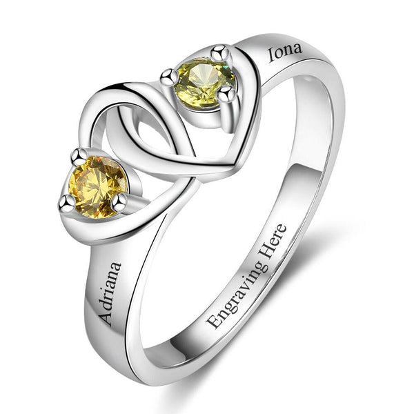 2 Stone Locked Hearts Mothers Ring or Promise Ring - Think Engraved