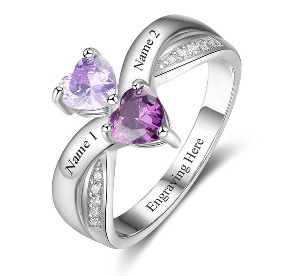 2 Stone Rival Hearts Engraved Mothers Ring or Promise Ring - Think Engraved