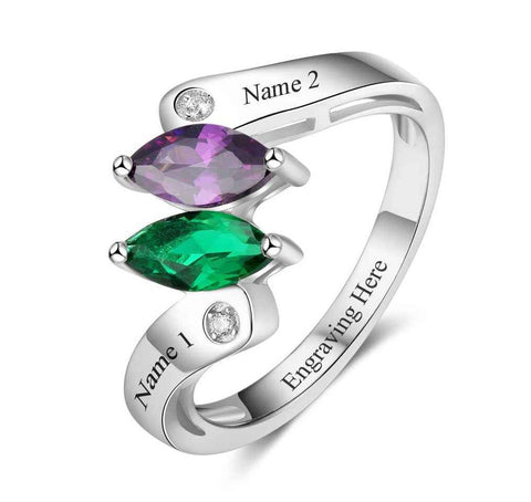 2 Stone Double Marquis Mothers or Promise Ring - Think Engraved