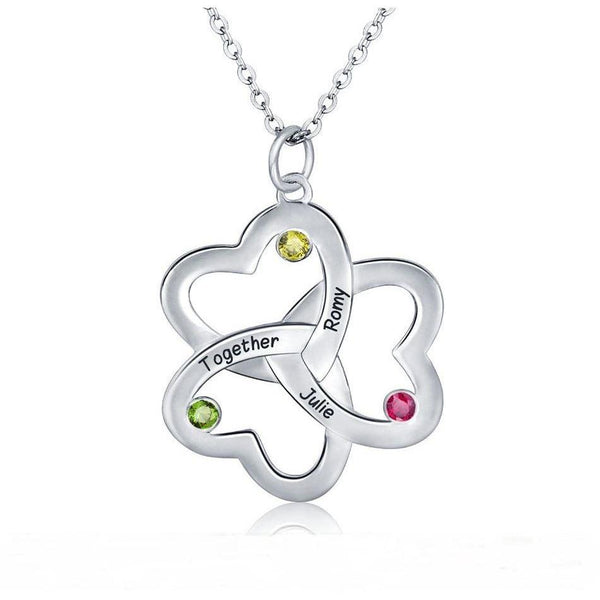 3 Stone Linked Hearts Mothers Family Necklace