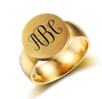 Personalized 3 Initial Engraved Monogram Gold Tone Ring