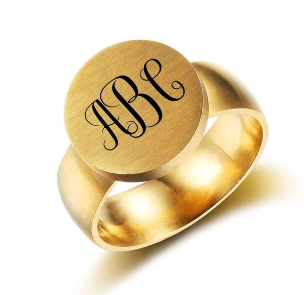 Personalized 3 Initial Engraved Monogram Gold Tone Ring - Think Engraved