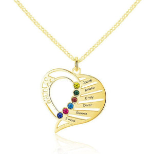 6 Stone Mom's Heart Pendant Gold Mothers Necklace - Think Engraved