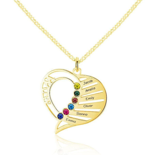 6 Stone Mom's Heart Pendant Gold Mothers Necklace