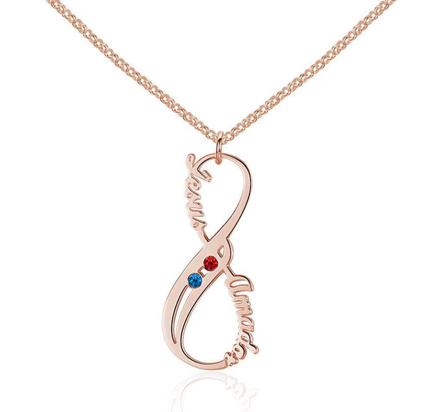 2 Stone Vertical Infinity RG Plate Pendant Necklace
