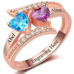 Personalized 14kt Rose Gold Plated 2 Heart Birthstone & 2 Name Ring
