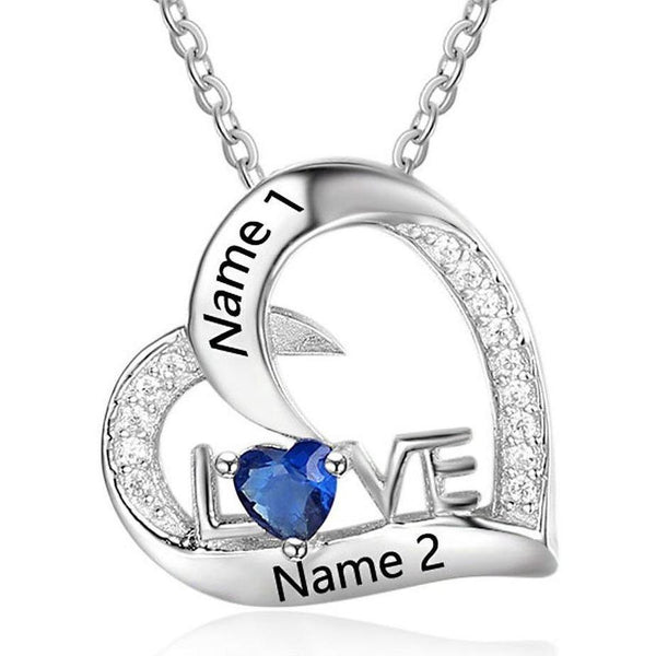1 Stone Love Heart Mothers or Couples Necklace