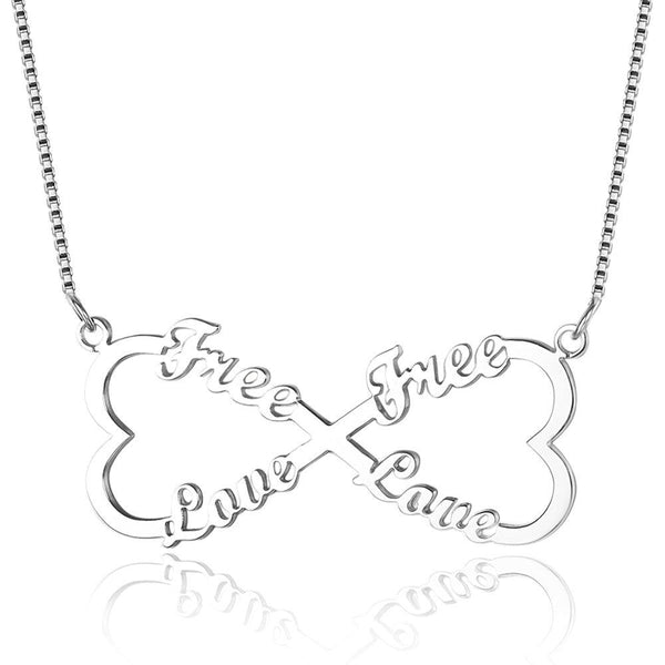 4 Name Infinity Heart Bow Name Necklace - Think Engraved