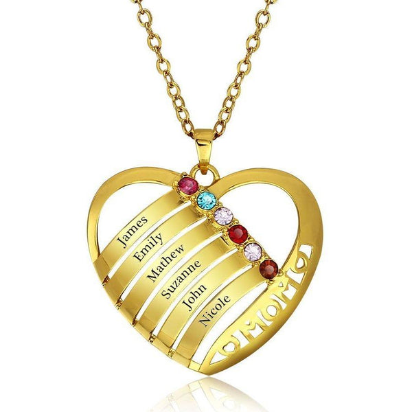 6 Stone In Mom's Heart Pendant Gold Mother's Necklace - Think Engraved