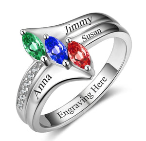 3 Stone Triple Marquis Mother's Ring - Think Engraved