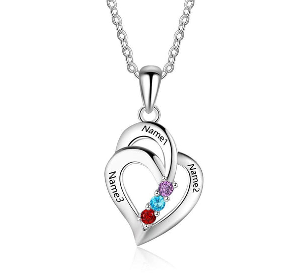 3 Stone Layered Hearts Pendant Mothers Necklace - Think Engraved