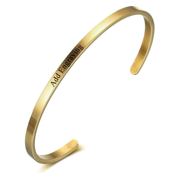 Gold Tone Engraved Name Cuff Bracelet