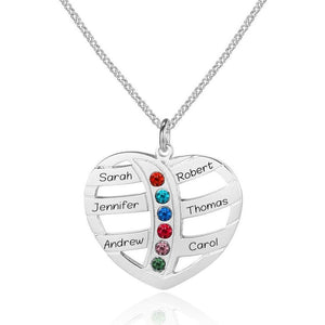6 Stone Heart Personalized Mother's MOM Pendant Necklace - Think Engraved