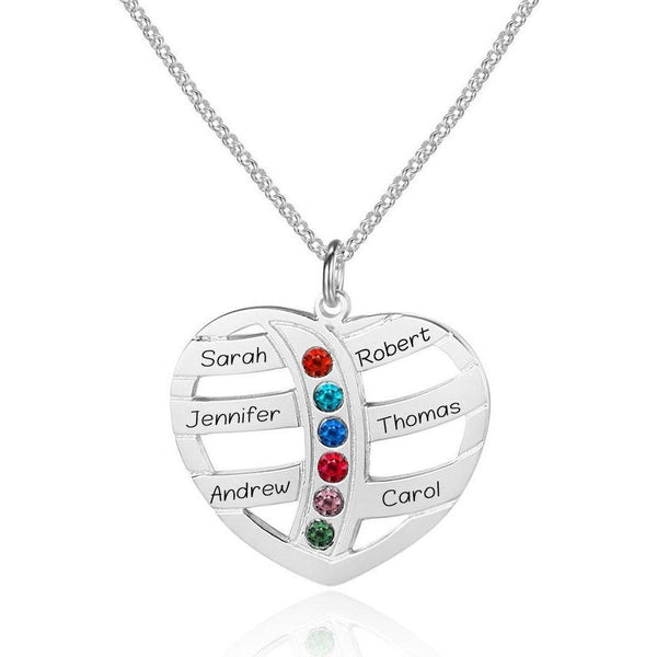 6 Stone Heart Personalized Mother's MOM Pendant Necklace