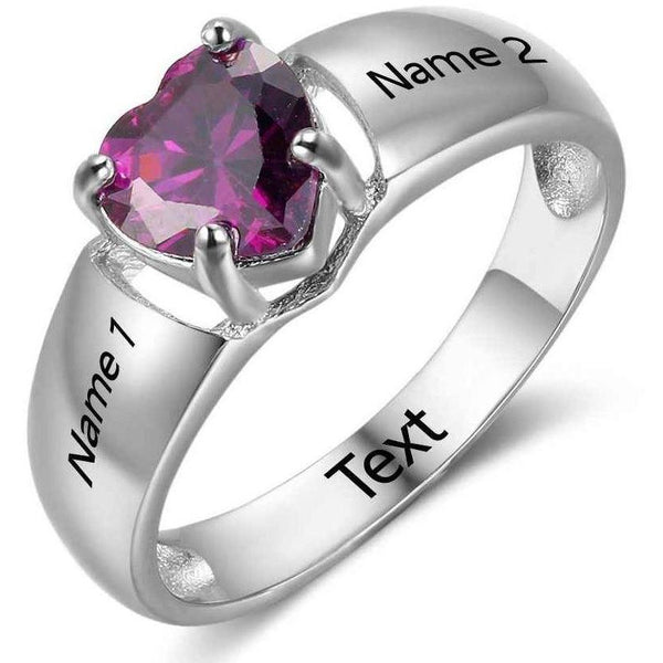 Personalized 1 Heart Birthstone & 2 Engraved Names Ring