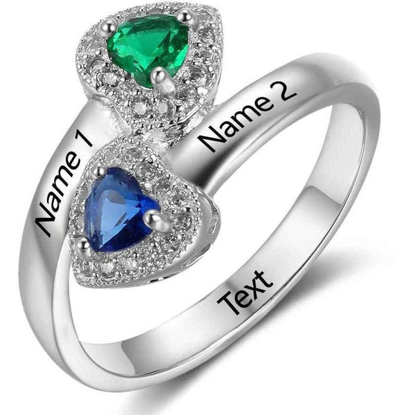 Personalized 2 Heart Birthstone & 2 Engraved Names Ring