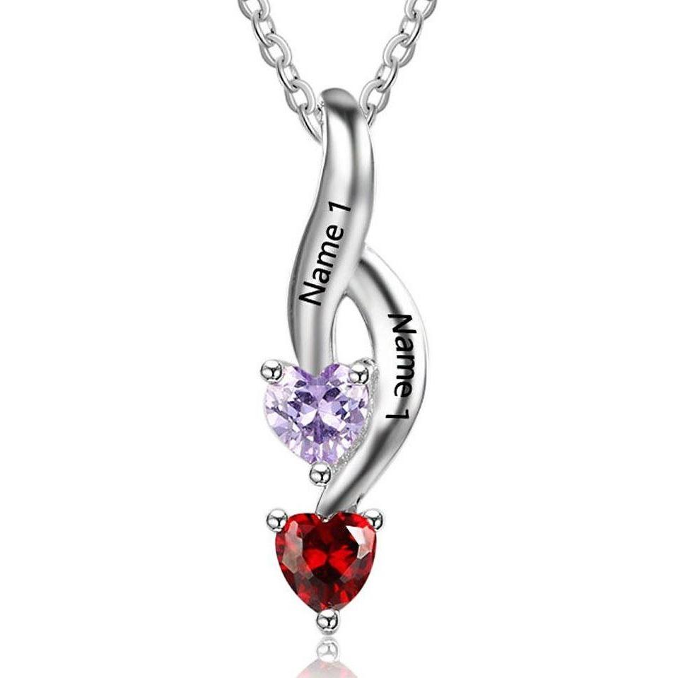2 Stone Shooting Hearts Mothers or Couples Necklace #2 - Think Engraved
