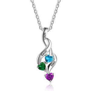 3 Stone Shooting Hearts Pendant Mothers Necklace - Think Engraved