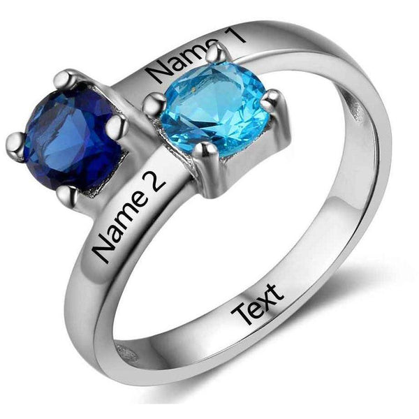 Personalized 2 Birthstones & 2 Engraved Names Ring