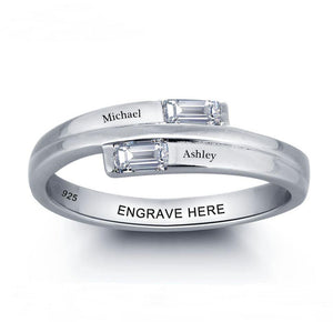Sterling Silver 2 Custom Egraved Names Ring - Think Engraved