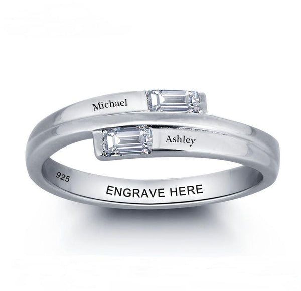 Sterling Silver 2 Custom Egraved Names Ring