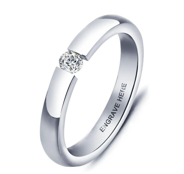Stainless Steel Engraved Promise Ring