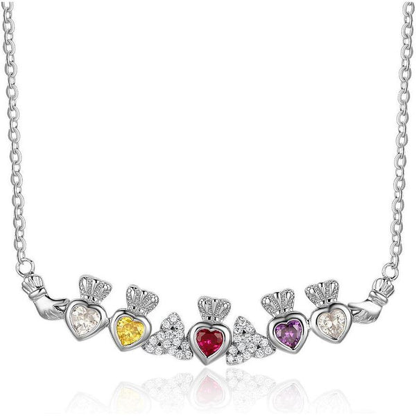 5 Stone Irish Claddaugh Loyalty Mothers Necklace - Think Engraved