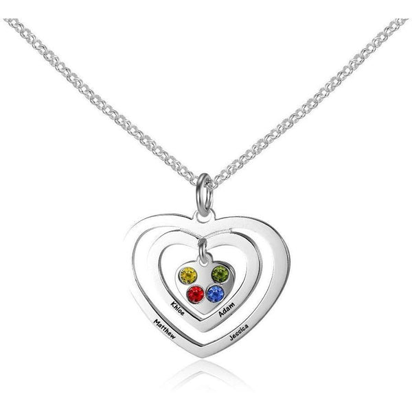 4 Stone Hearts Echo Pendant Mother's Necklace