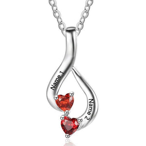 2 Heart Stone #2 Hanging Hearts Pendant Necklace - Think Engraved