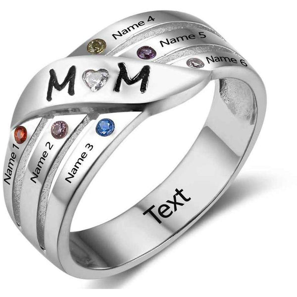 6 Stone 6 Engraved Names Mothers MOM Family Ring