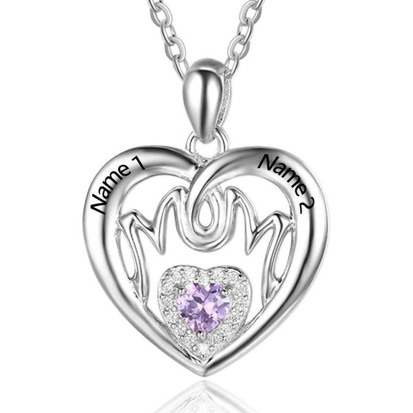 1 Stone MOM Mothers Birthtone Pendant Necklace - Think Engraved